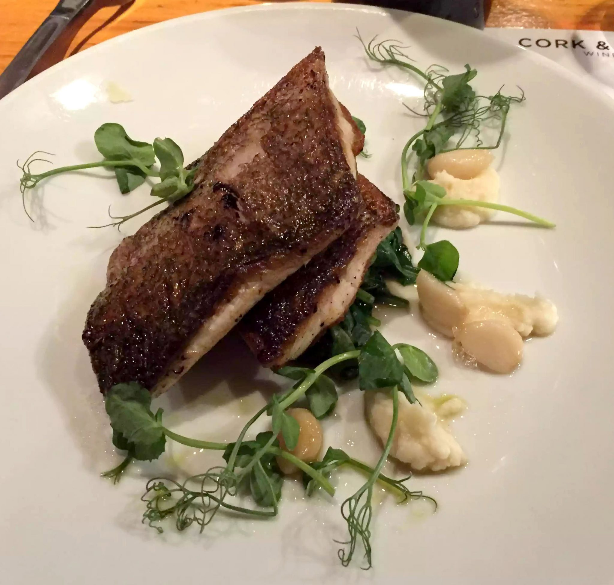 Cork & Bottle Leicester Square London Birthday Dinner Restaurant Wine Sea Bass Cauliflower Puree Spinach