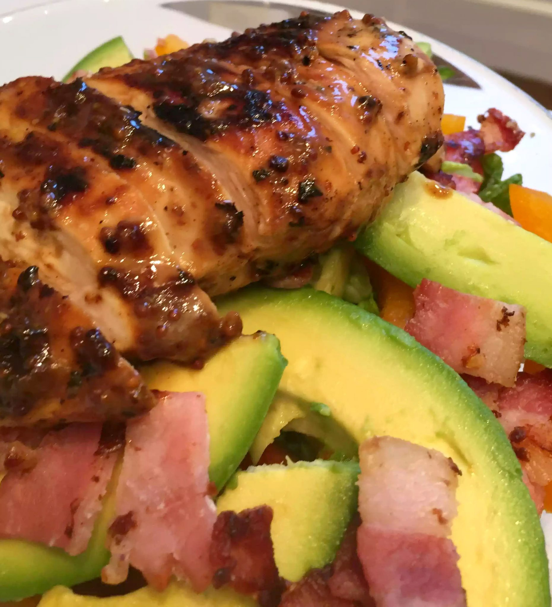 Honey Mustard Chicken Paleo SCD Dinner London Recipe Avocado Bacon