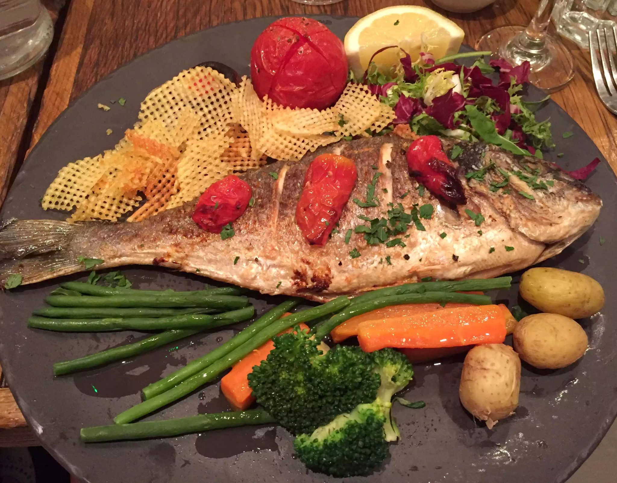 Regent's Canal Camden Walk Primrose Hill Hampstead Fish Cafe Sea Bream Grilled