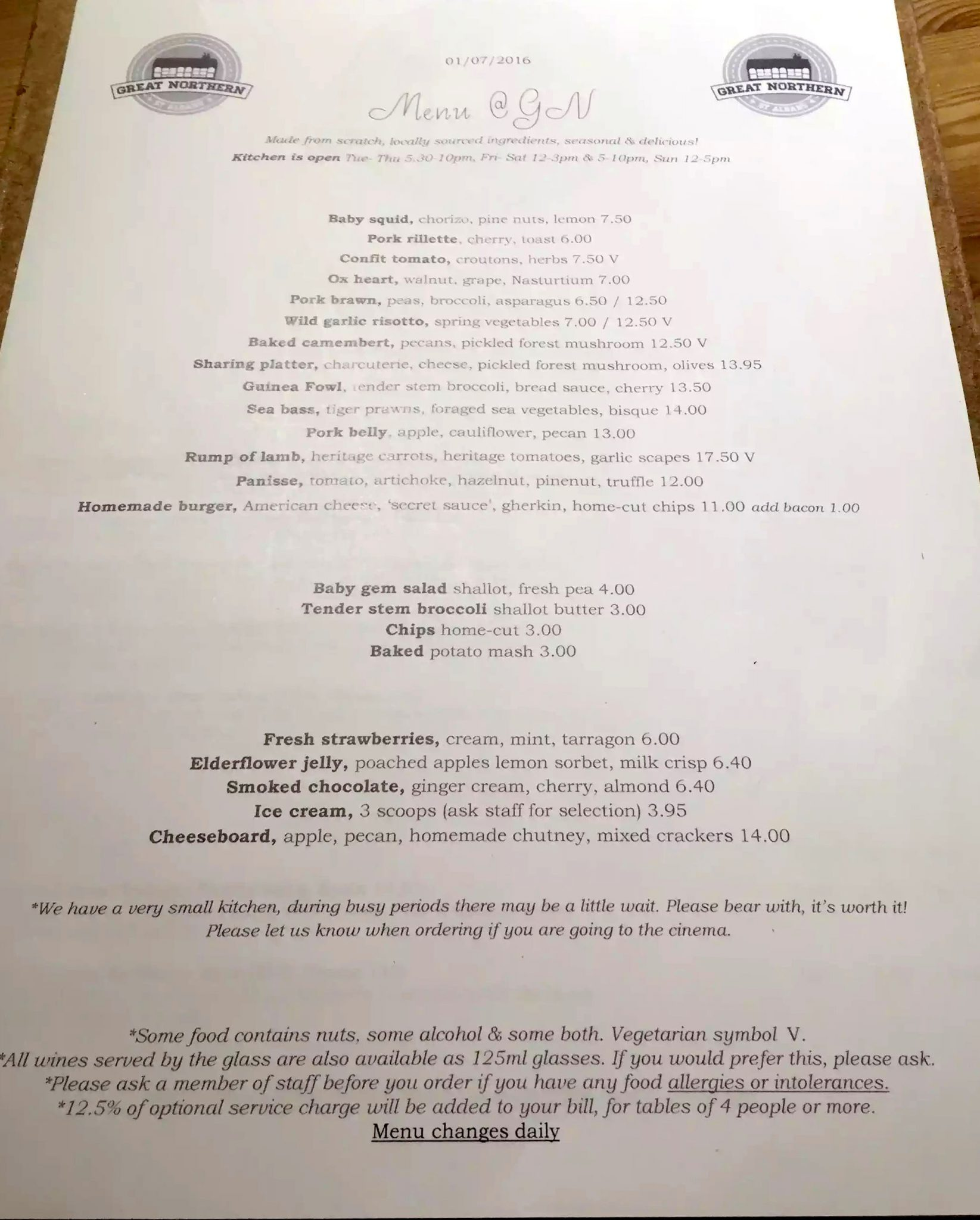 Great Northern Pub St Albans Wine Tasting Dinner Menu