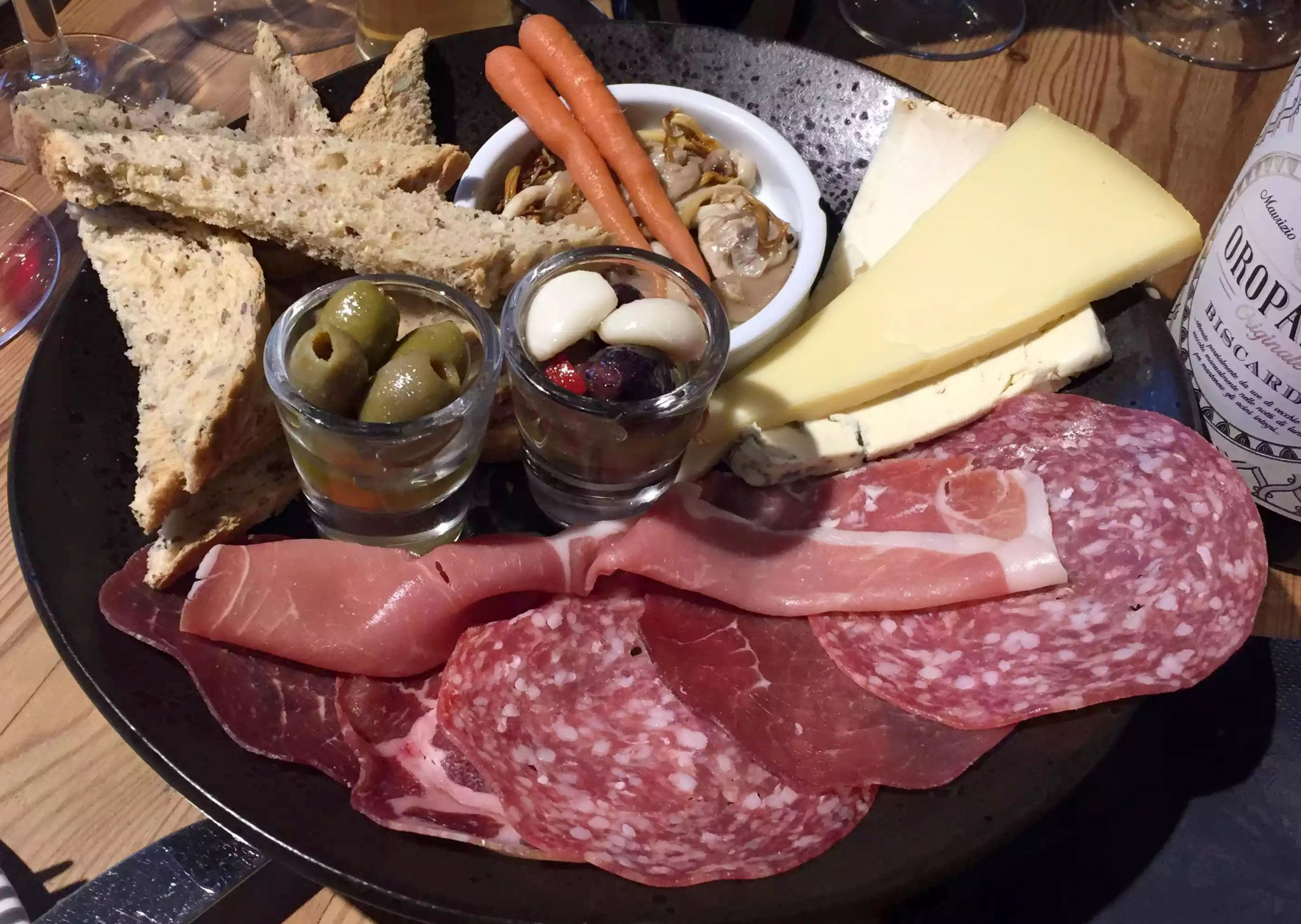 Great Northern Pub St Albans Wine Tasting Dinner Antipasti Platter Salami Prosciutto Bresaola Olives Cheese Pickled Mushrooms