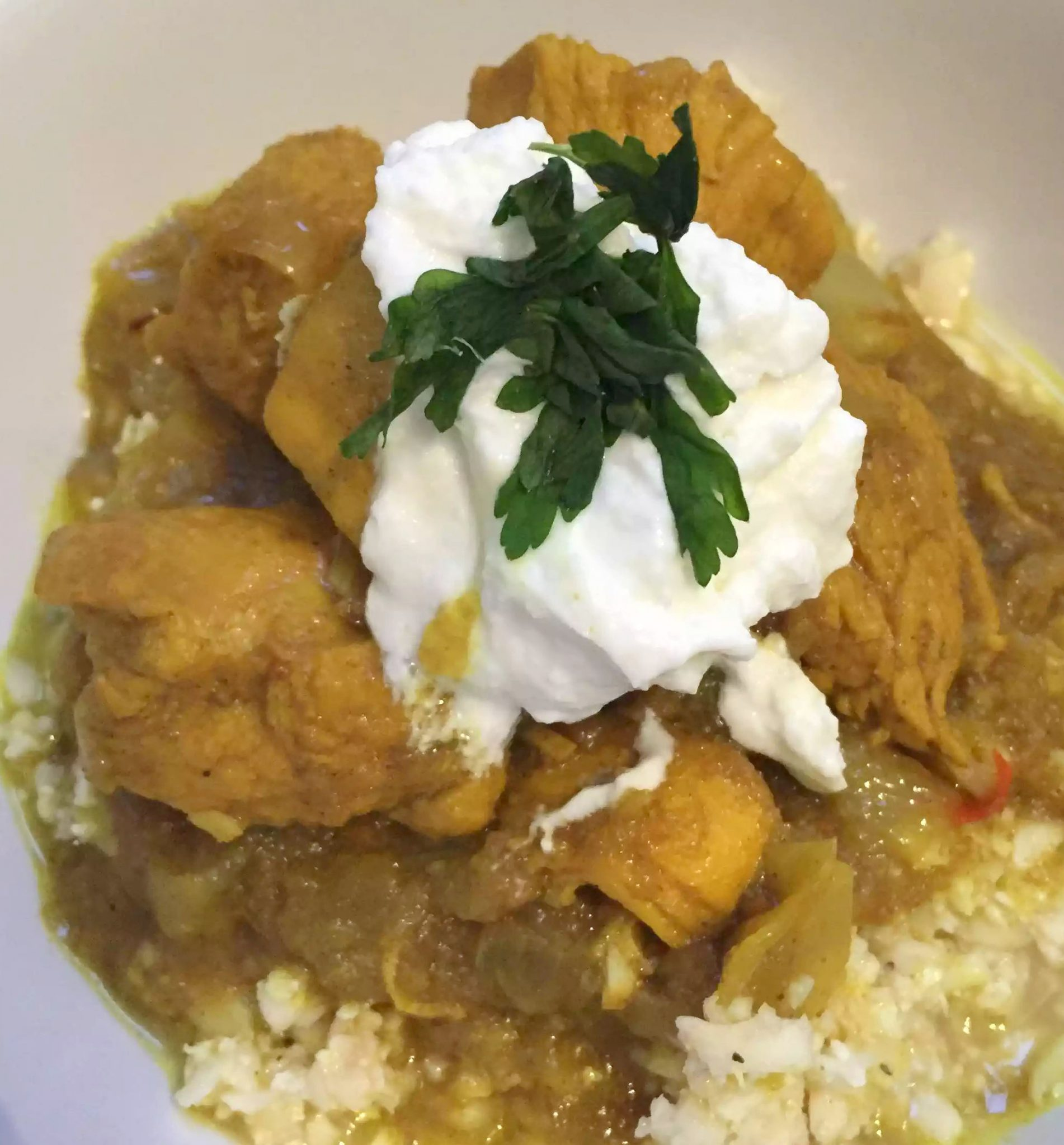 Chicken Curry Cauliflower Rice Turmeric Chilli Cardamom Garam Masala Cumin Coriander Lime