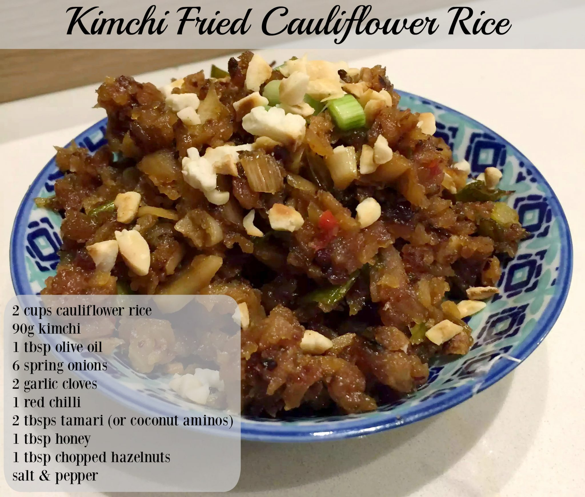 Kimchi Fried Cauliflower Rice by Emma Eats & Explores - Paleo, Gluten-Free, Grain-Free, Refined Sugar-Free, Vegan, Vegetarian, Dairy-Free