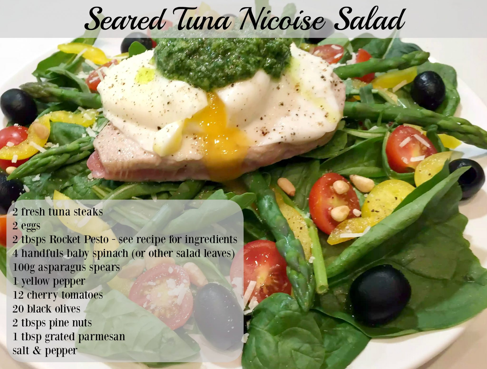 Seared Tuna Nicoise Salad with Poached Egg & Rocket Pesto by Emma Eats & Explores - SCD, Paleo, Pecatarian, Dairy-Free, Gluten-Free, Grain-Free, Sugar-Free, Clean Eating