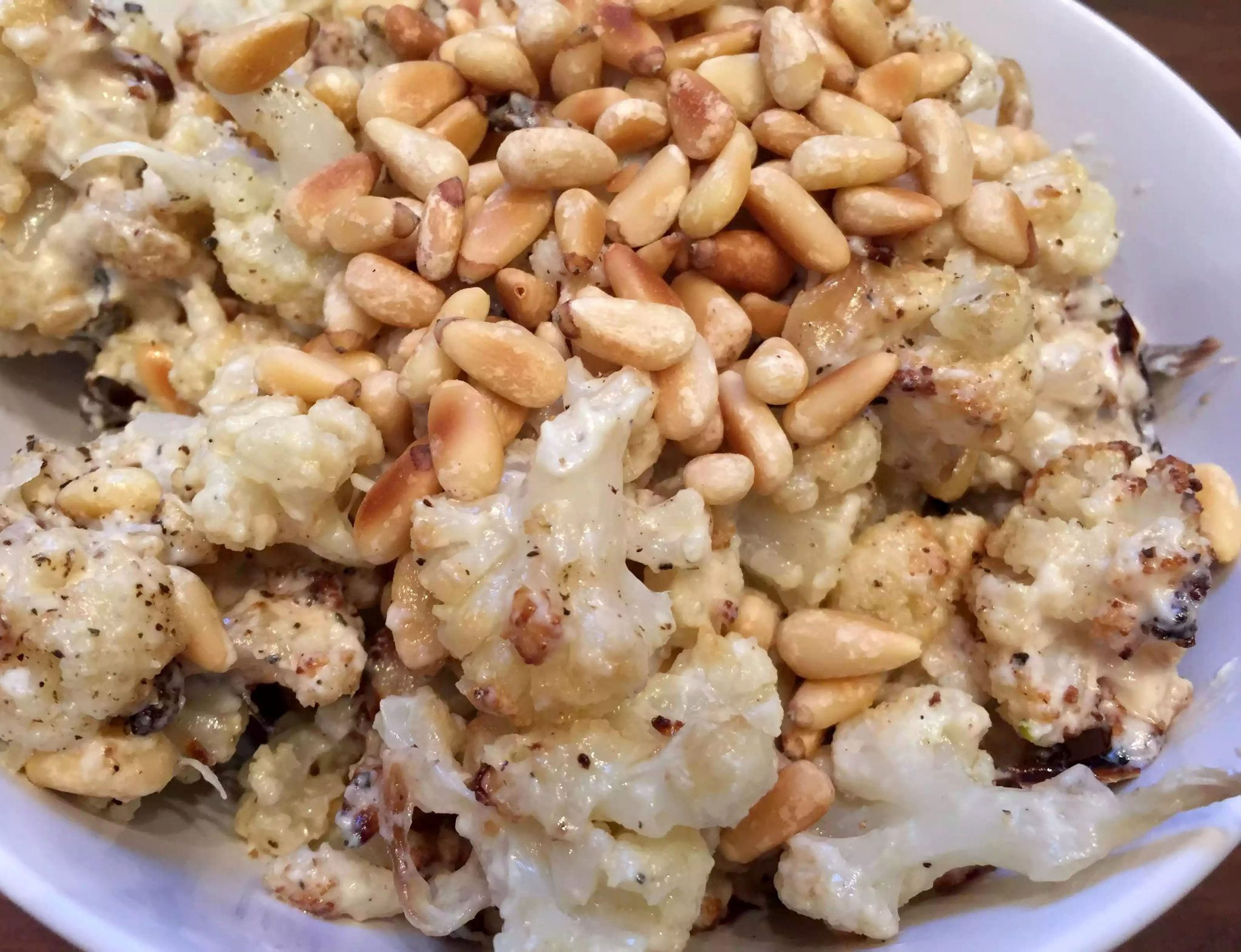 Roasted Cauliflower Tahini Yoghurt Lemon Dressing Garlic Pine Nuts Salad SCD Paleo Gluten Free Grain