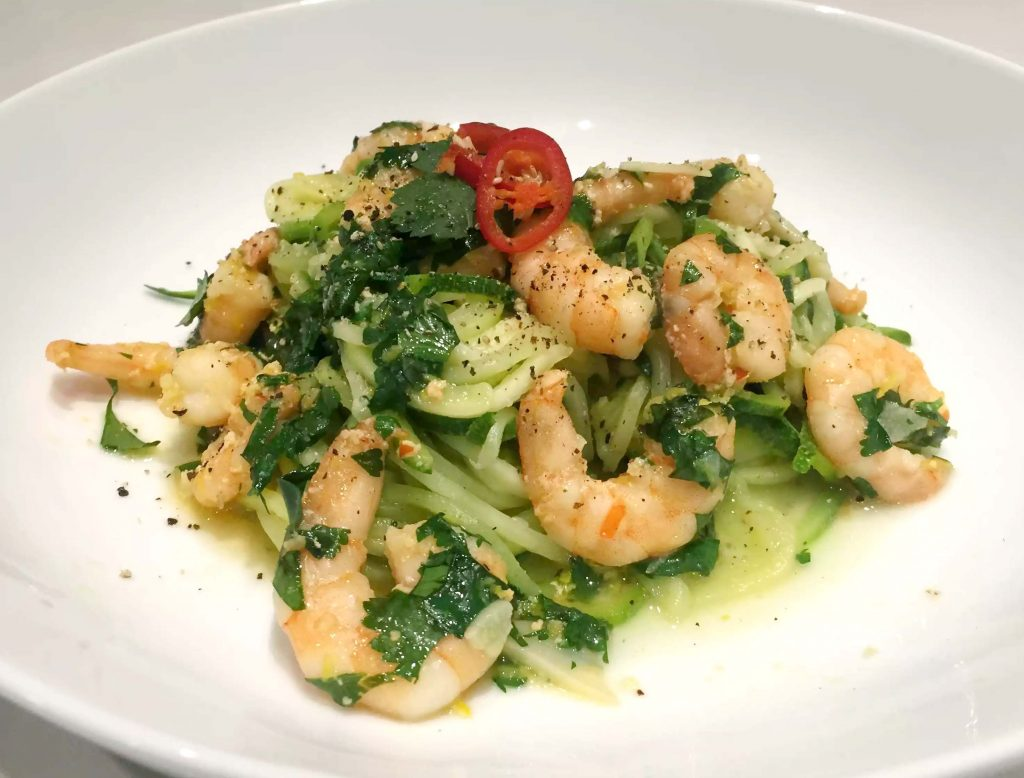 Courgetti Aglio E Olio with King Prawns - Zucchini Zoodles with Chilli, Garlic & Jumbo Shrimp - by Emma Eats & Explores - Gluten-Free, Grain-Free, Dairy-Free, Sugar-Free, Whole30, SCD, Paleo, Pescatarian