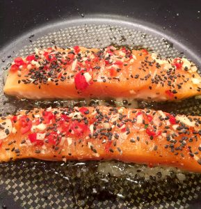 Sweet Chilli Salmon with Sesame Seeds by Emma Eats & Explores - Grain-Free, Gluten-Free, Dairy-Free, Pescatarian, Dairy-Free, Paleo, SCD