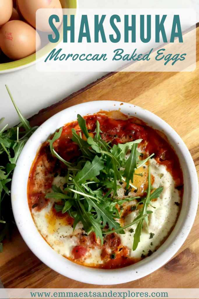 Shakshuka, Moroccan Baked Eggs by Emma Eats & Explores - Grainfree, Glutenfree, Dairyfree, Vegetarian, SCD, Paleo, Whole30, Low Carb