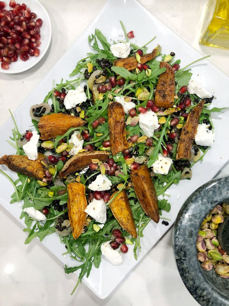 Roasted Sweet Potato Salad With Lentils Goats Cheese Emma Eats Explores