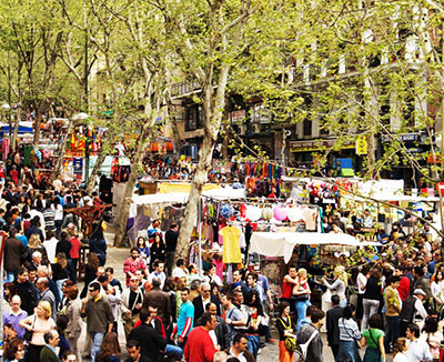 Madrid Sunshine El Rastro Flea Market Stalls Sunday