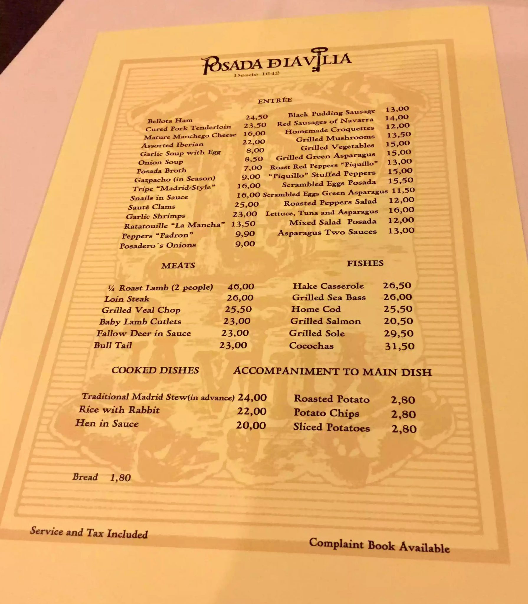 Posada de la Villa Madrid Dinner Restaurant Cava Baja Menu