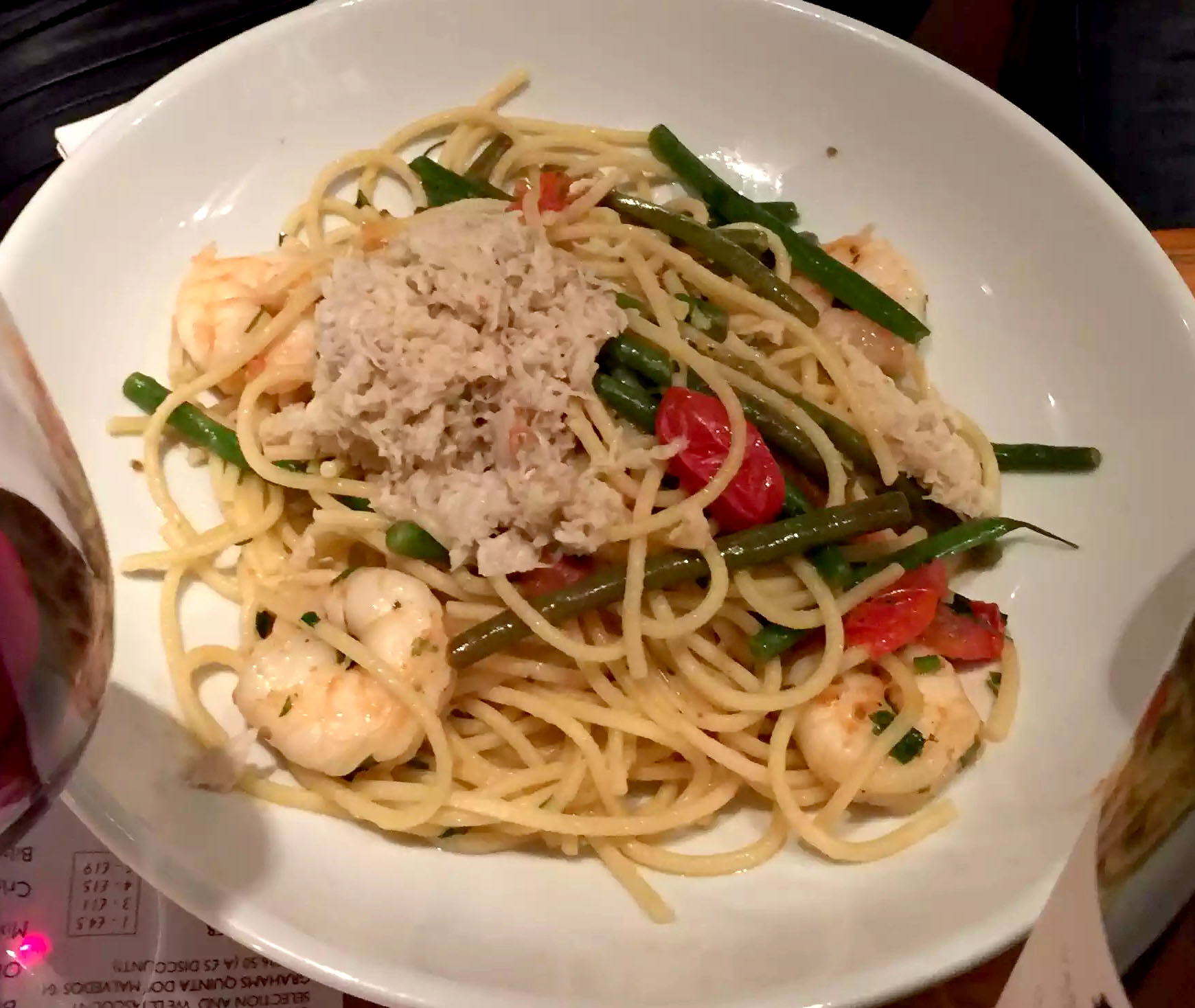 Cork & Bottle Leicester Square London Birthday Dinner Restaurant Wine Crab Prawn Seafood Linguine