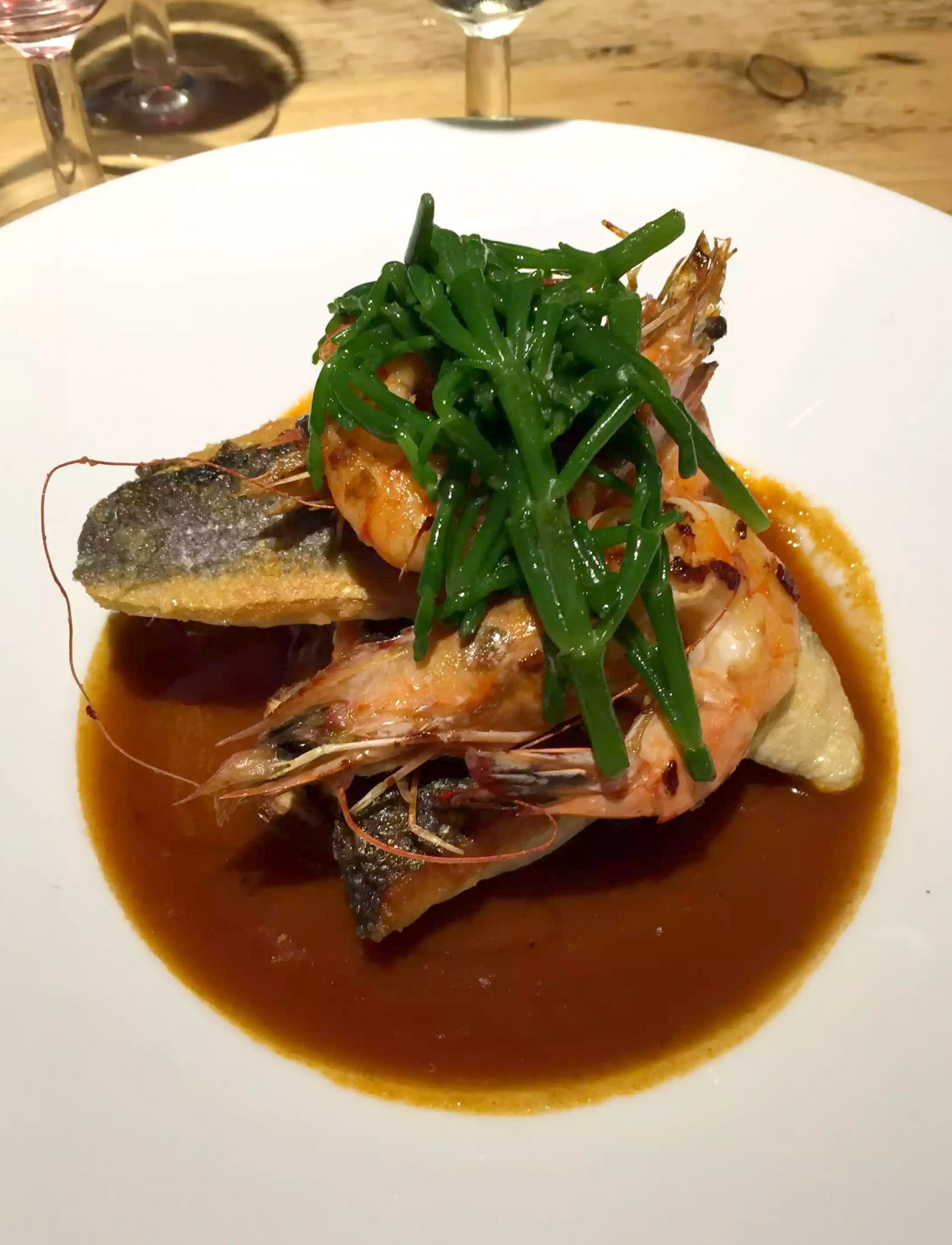 Great Northern Pub St Albans Summer Menu Sea Bass Samphire Bisque Prawns