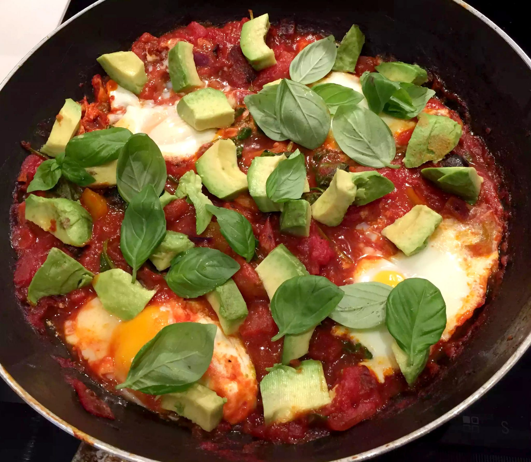 Huevos Rancheros Chorizo Baked Eggs Tomato Avocado Basil Olives Garlic Pepper Healthy Mexican SCD Paleo Dinner