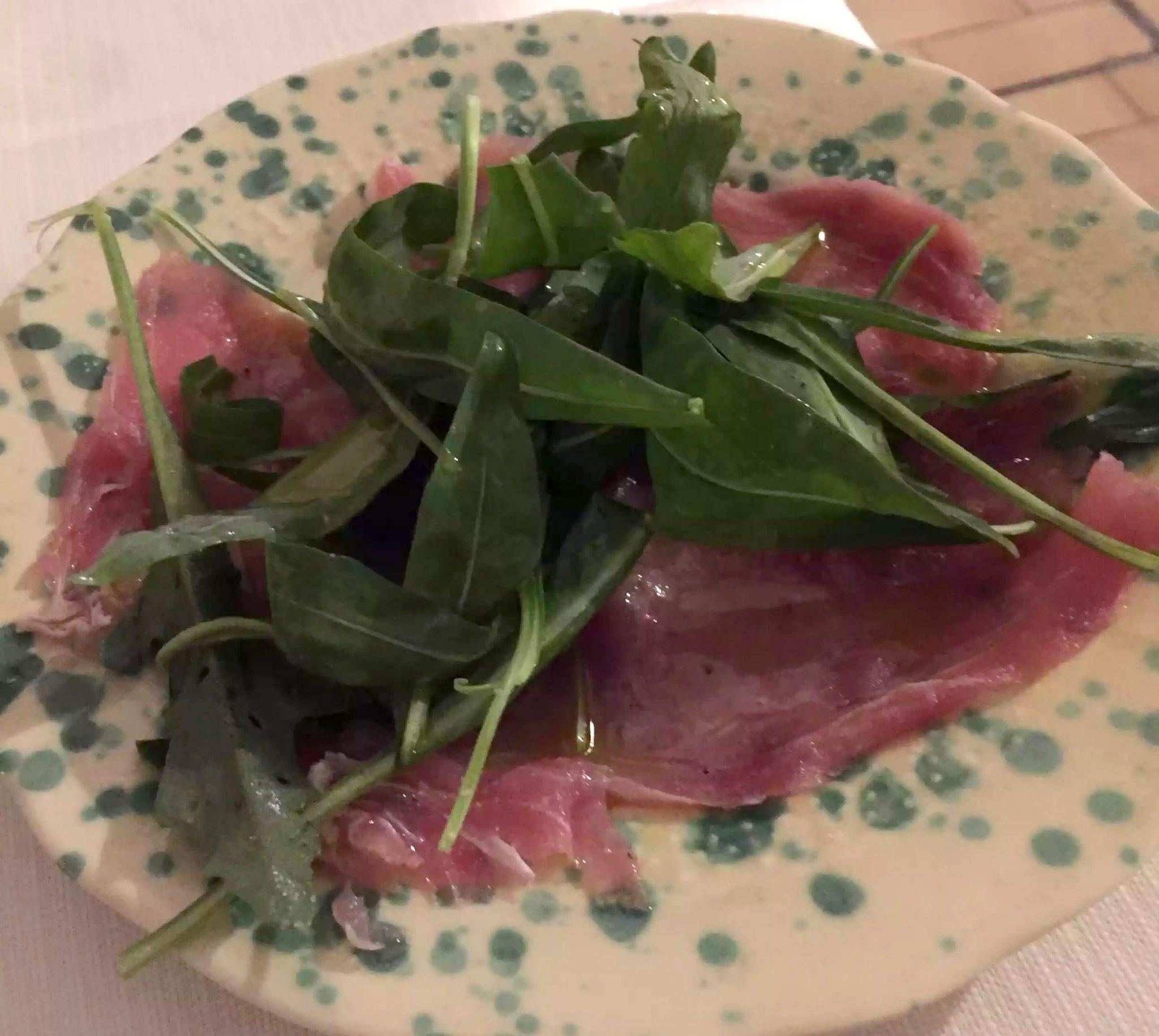 Marina di Pulsano Puglia Italy Casa Mita Dinner Tuna carpaccio Restaurant