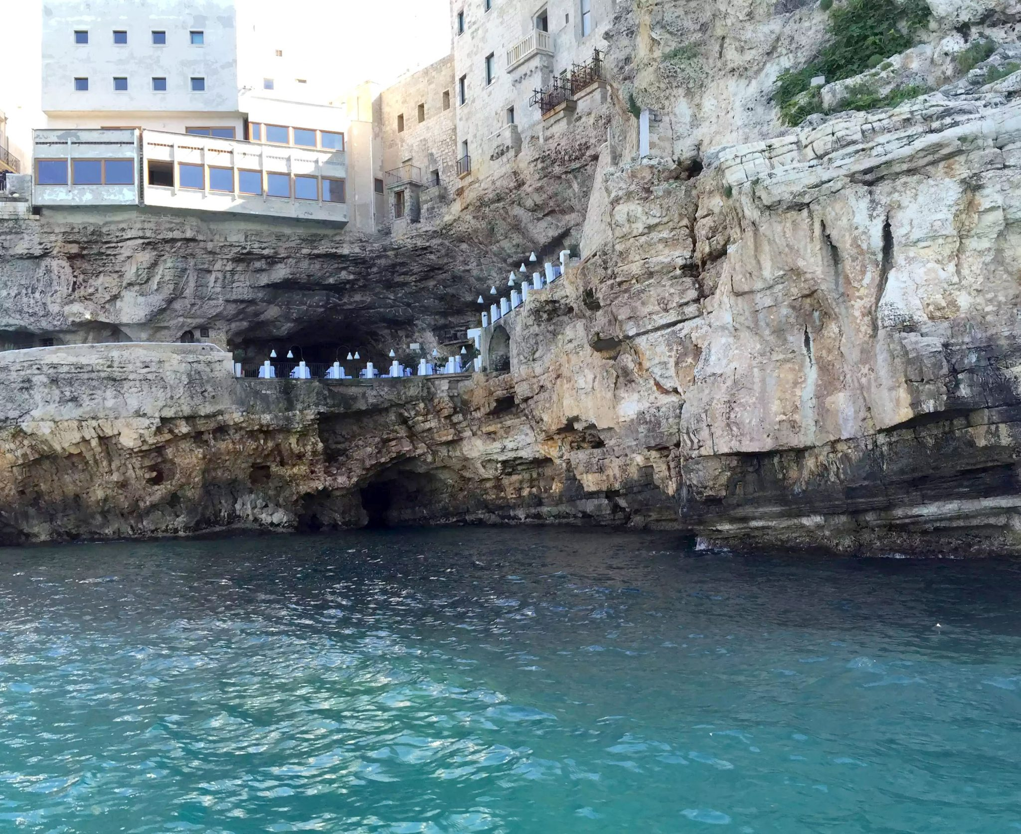 Polignano A Mare Puglia Italy Grotta Palazzese lunch Birthday Princess cave Restaurant View Boat Trip