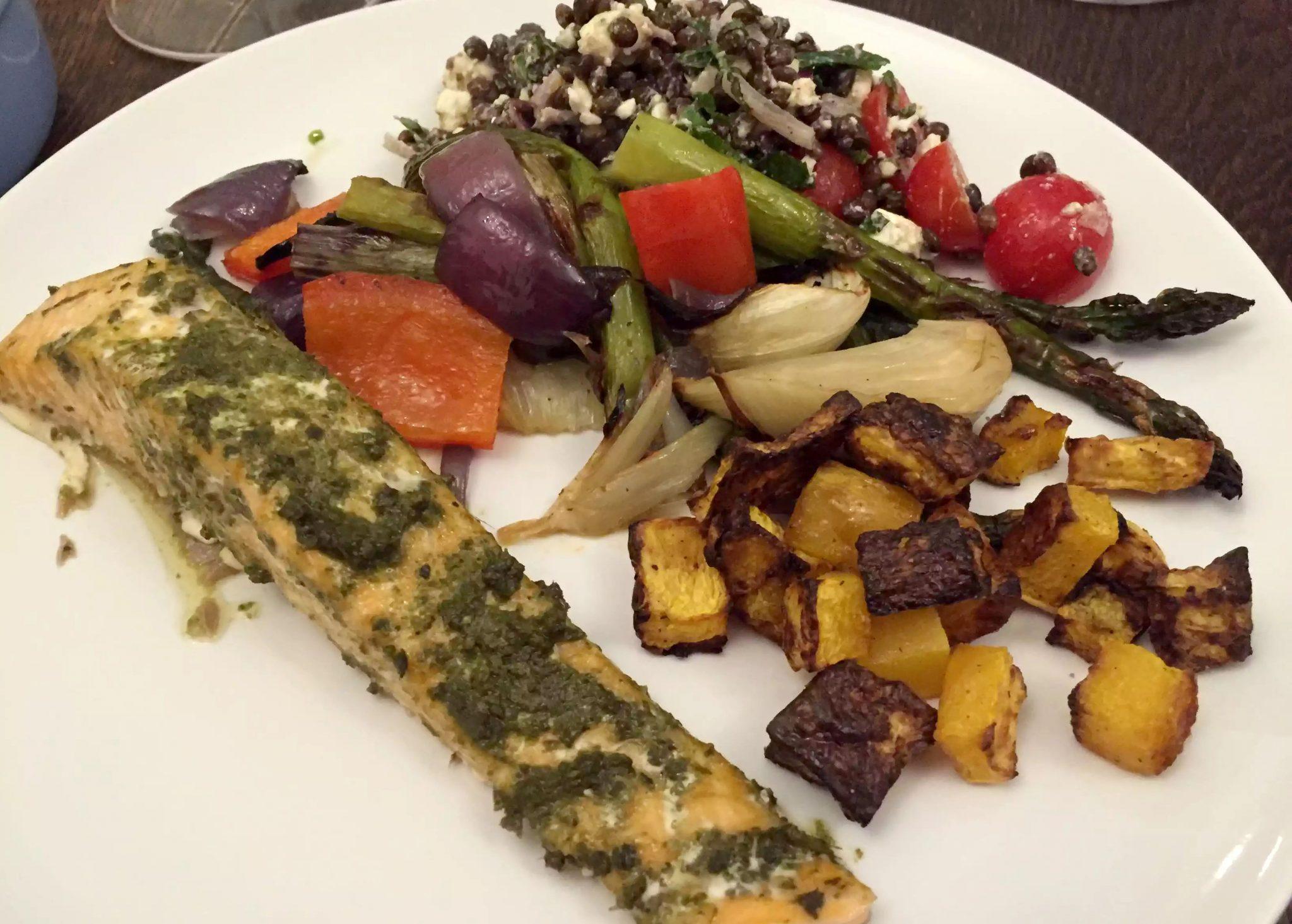 Pesto Salmon Swedes Butternut Squash Roasted Vegetables Recipe lentil Feta Salad