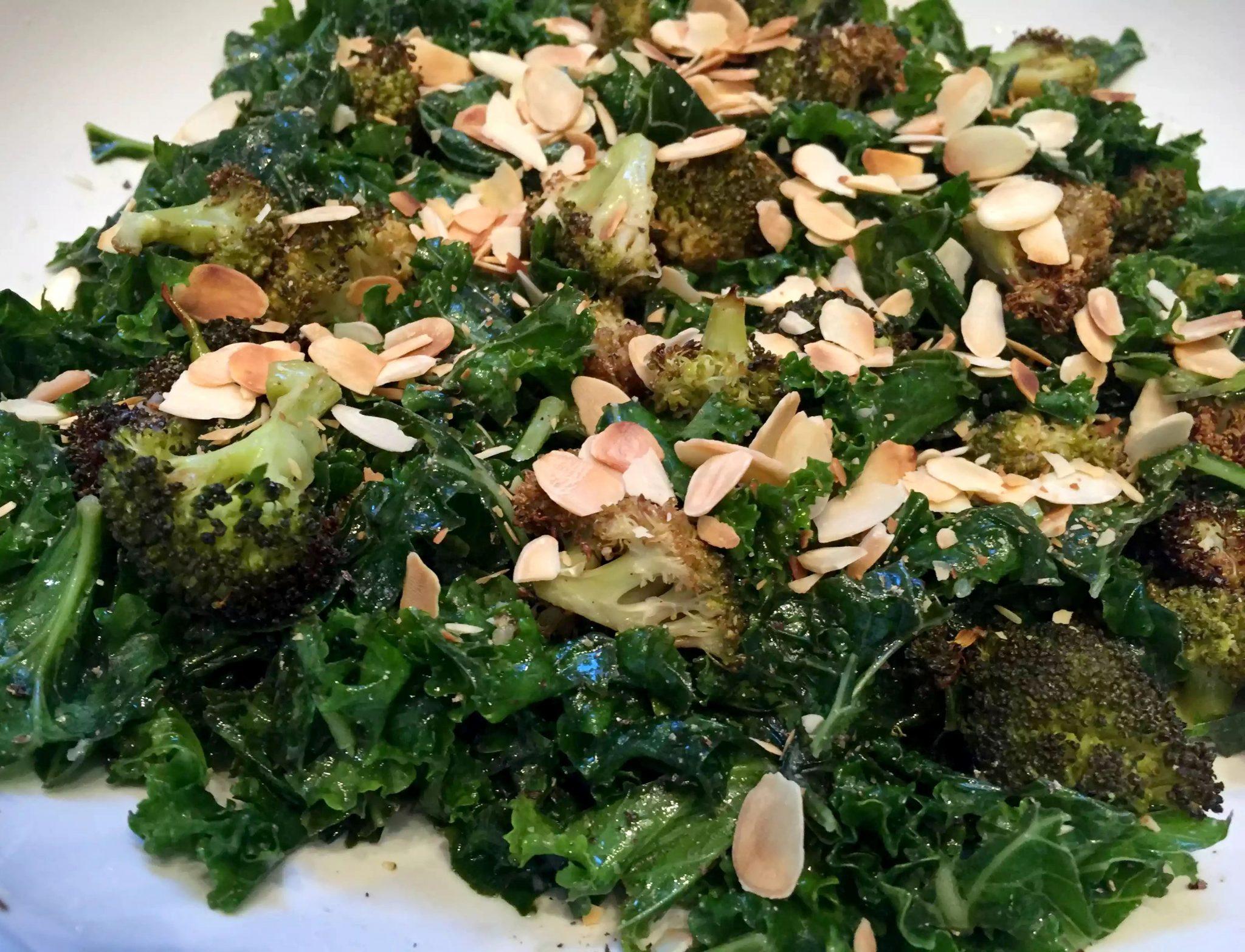 Roasted Broccoli Massaged Kale Almond Salad Lemon Dressing Garlic