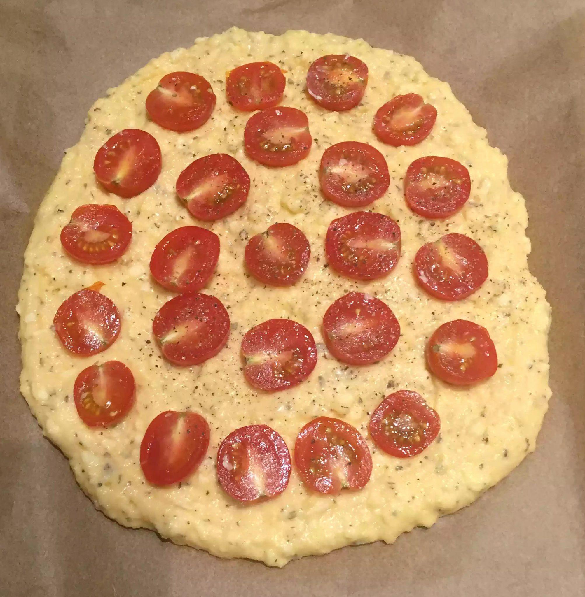Cherry Tomato & Rocket Pesto Focaccia - Grain-Free Gluten-Free SCD Paleo Eggs Yoghurt Pizza Base Coconut Flour