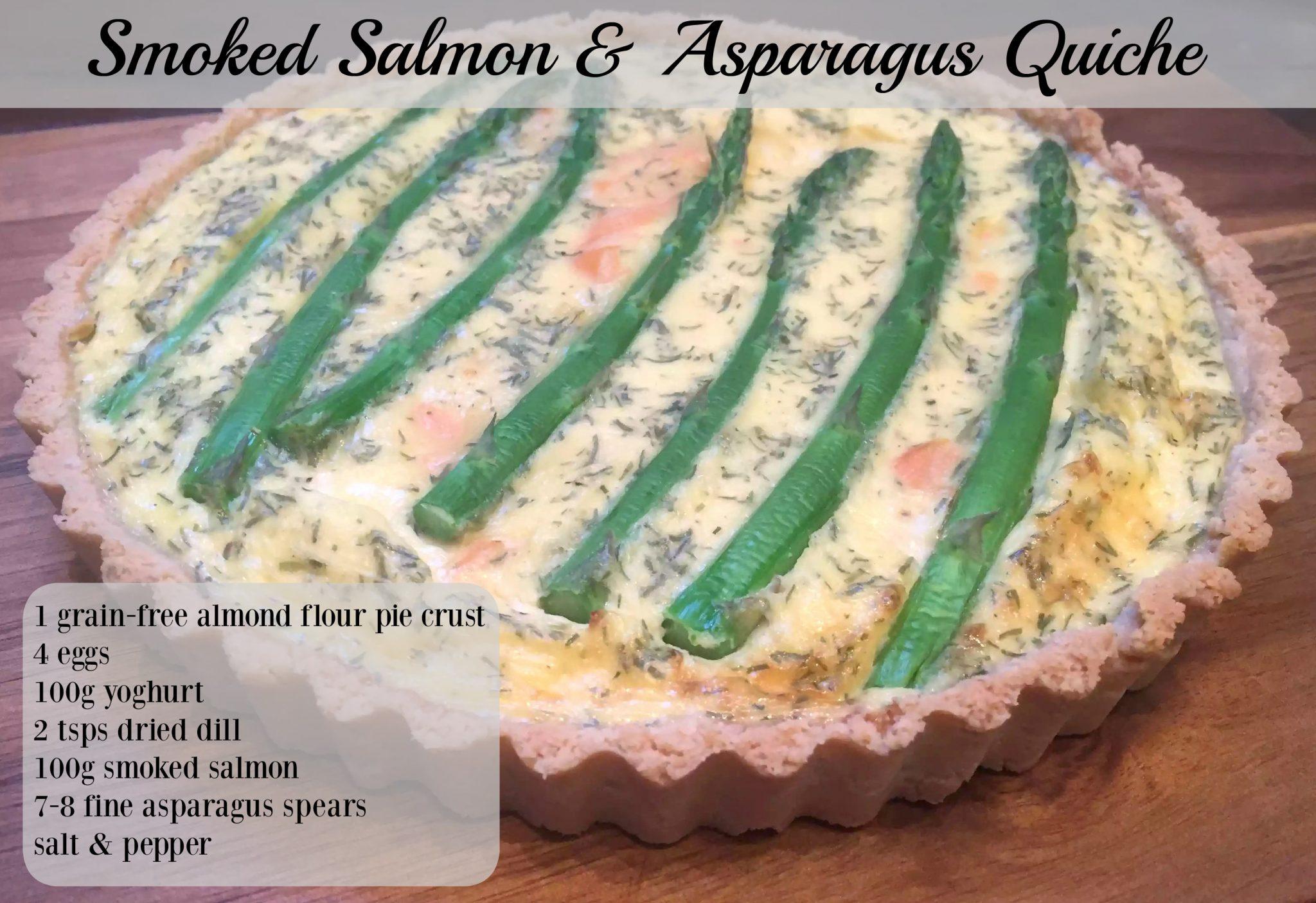 Smoked Salmon & Asparagus Quiche Grain Free Almond Flour Pie Crust Gluten Free SCD Paleo