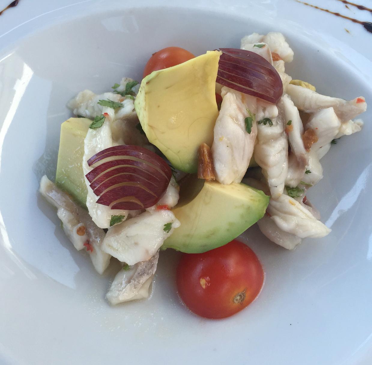 Marias Restaurant - Praia de Garrao - Algarve - Portugal - Sea Bass Ceviche Avocado Grapes Walnuts Lemon