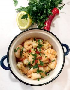 Gambas Al Ajillo (Garlic & Chilli Prawns/Shrimp) by Emma Eats & Explores - Grainfree, Glutenfree, Dairyfree, Sugarfree, Pescatarian, Paleo, Primal, Whole30, SCD, Low Carb