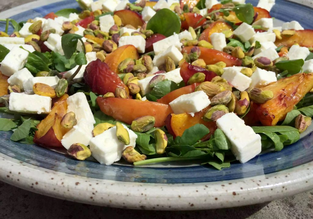 Roasted Peach, Feta & Pistachio Salad with Honey Mustard Dressing by Emma Eats & Explores - Grainfree, Glutenfree, Refined Sugarfree, Paleo, SCD, Low Carb & Vegetarian