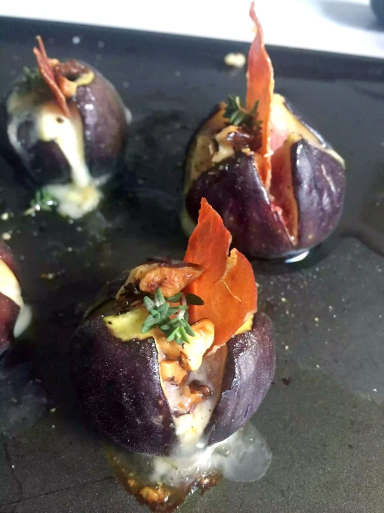 Grilled Figs with Goats Cheese, Crispy Prosciutto, Pecans & Honey by Emma Eats & Explores