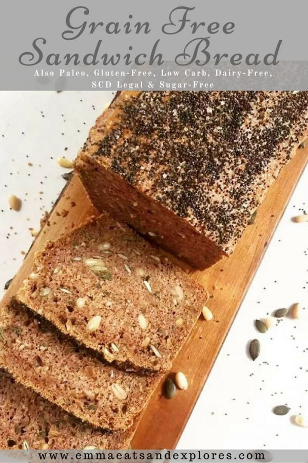 Grain Free Sandwich Bread by Emma Eats & Explores - Gluten-Free, Dairy-Free, SCD, Paleo, Low Carb, Whole30, Vegetarian, Sugar-Free