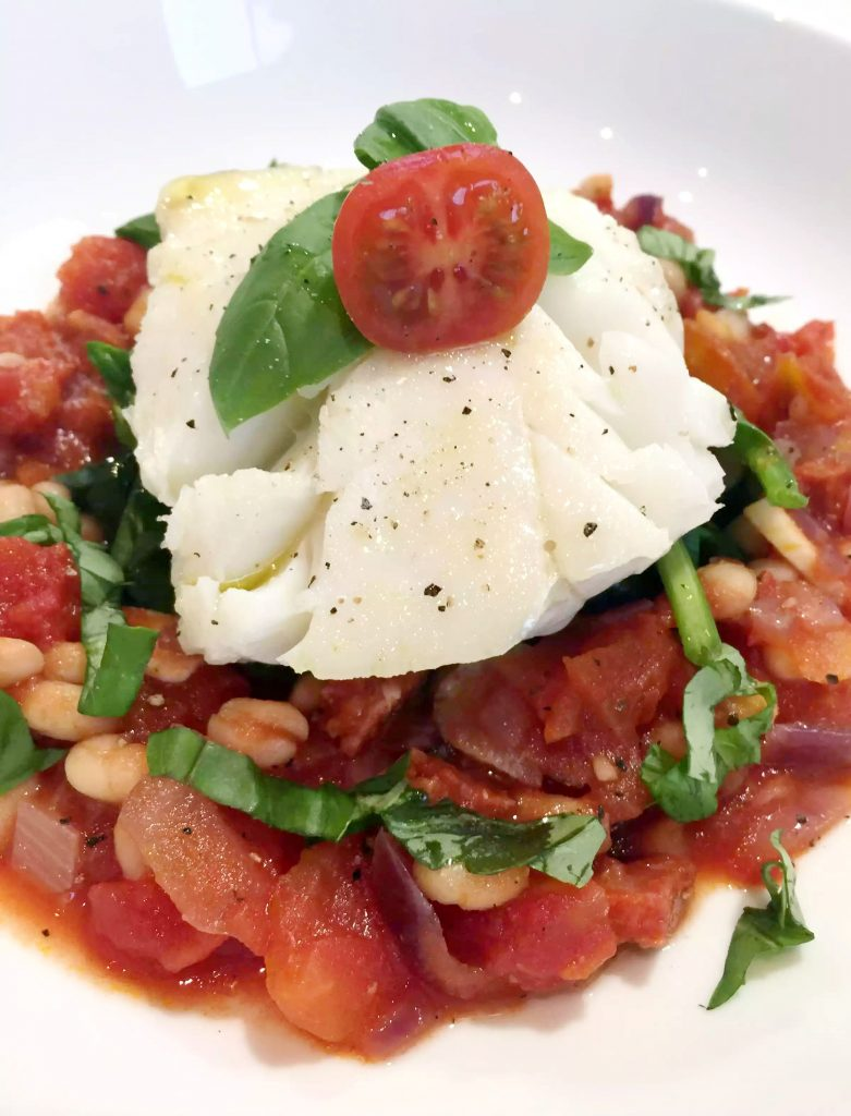 Pan Fried Cod with Tomato Chorizo Cassoulet by Emma Eats & Explores - Grainfree, Glutenfree, Dairyfree, Refined Sugarfree, Pescatarian, SCD, Low Carb