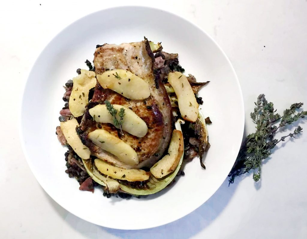 Pork Chops with Butter Poached Apples by Emma Eats & Explores - Grainfree, Glutenfree, Sugarfree, Paleo, SCD & Low Carb