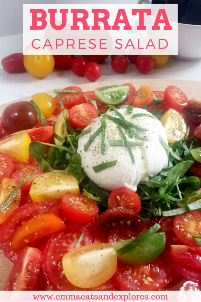 Burrata Caprese Salad by Emma Eats & Explores - Grainfree, Glutenfree, Sugarfree, Paleo, Low
