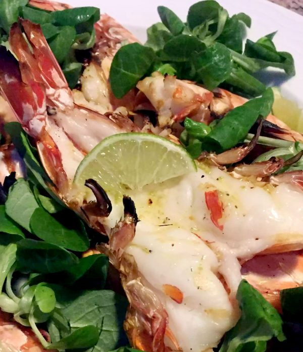 Grilled Jumbo Shrimp with Lime Butter Sauce by Emma Eats & Explores - Grainfree, Glutenfree, Sugarfree, Paleo, SCD, Whole30, Low Carb & Pescatarian