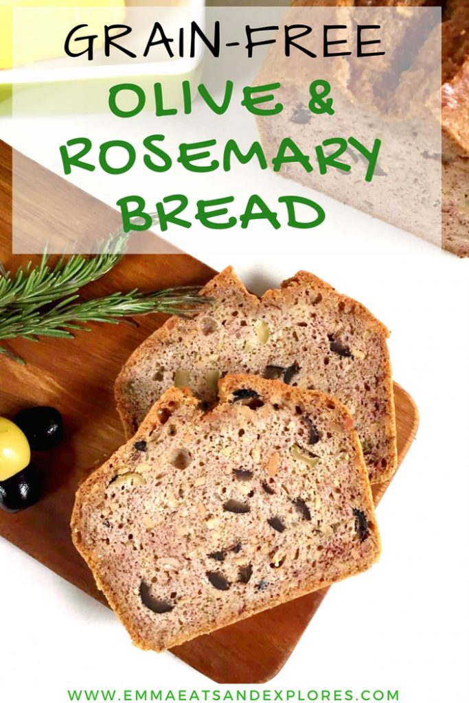 Grain Free Bread with Olives & Rosemary by Emma Eats & Explores - Grainfree, Glutenfree, Refined Sugarfree, Dairyfree, Paleo, SCD, Whole30, Low Carb & Vegetarian