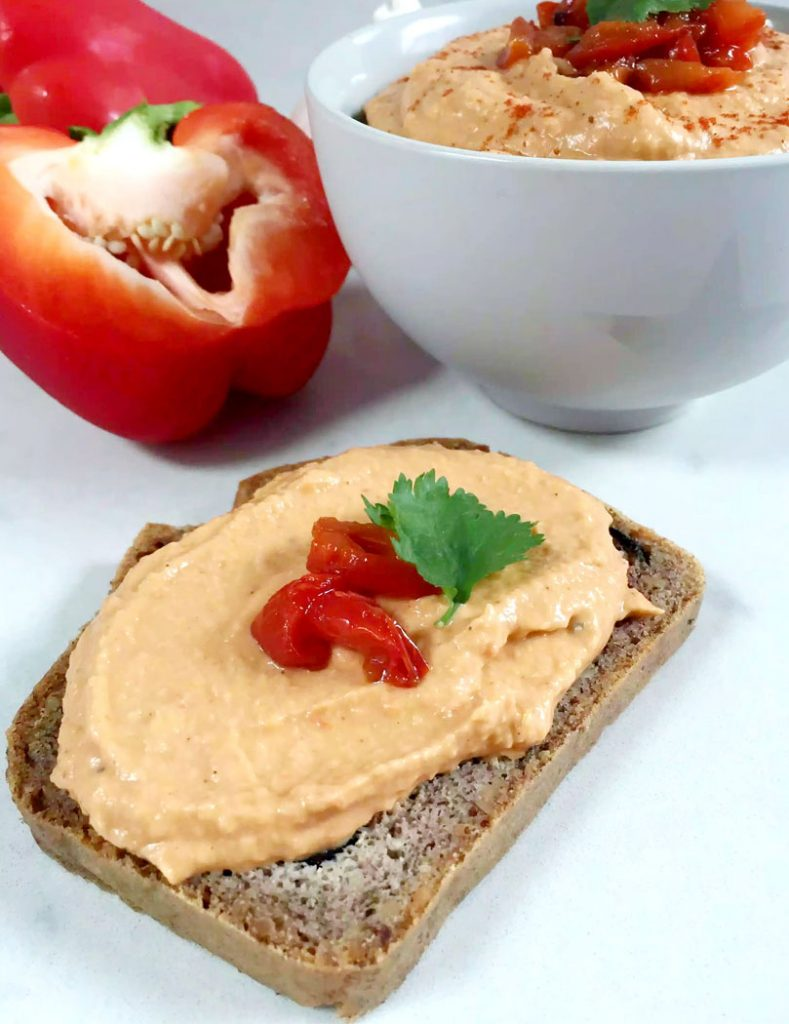 Roasted Red Pepper Houmous (Roasted Capsicum Hummus) by Emma Eats & Explores - Grainfree, Glutenfree, Refined Sugarfree, Dairyfree, SCD, Vegan, Vegetarian & Low Carb
