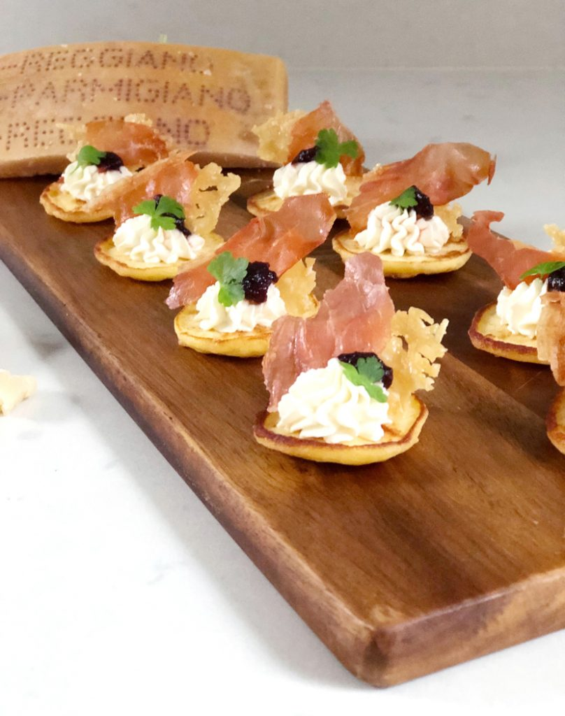Cheesy Parmesan Blinis with Crispy Prosciutto & Cranberry - Grainfree, Glutenfree, Refined Sugarfree, Paleo, SCD & Low Carb