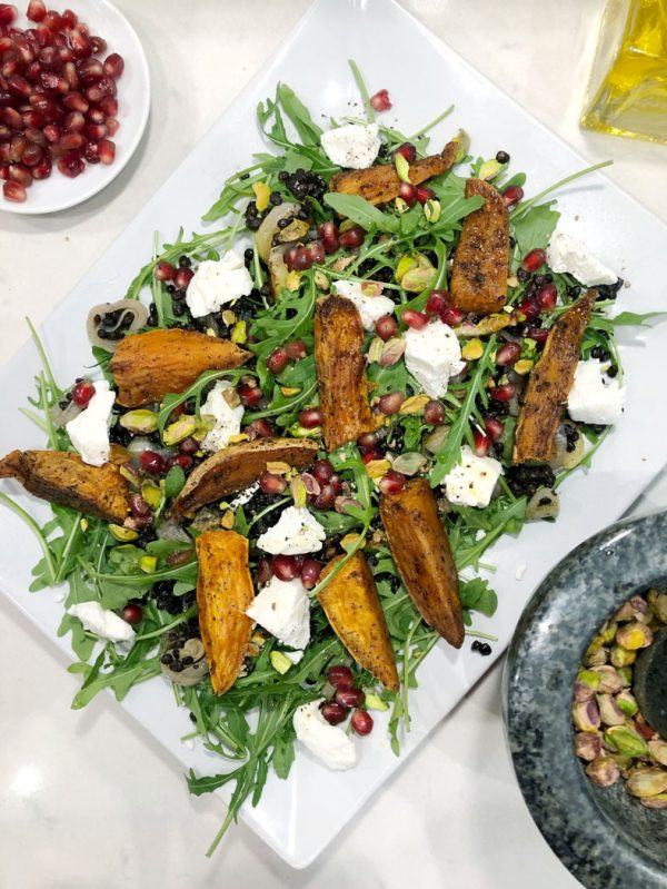 Roasted Sweet Potato Salad with Lentils & Goats Cheese - Grainfree, Glutenfree, Sugarfree & Vegetarian