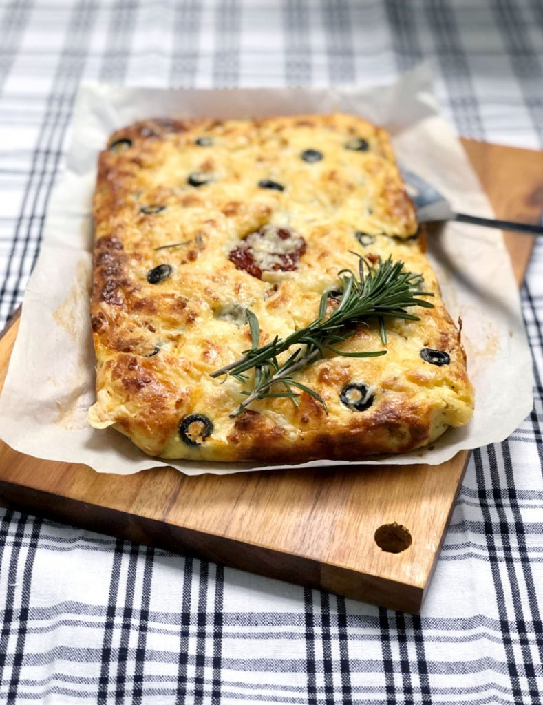 Grain-Free Focaccia with Olives, Sundried Tomato & Rosemary by Emma Eats & Explores - Grainfree, Glutenfree, Sugarfree, Paleo, Low Carb, SCD & Vegetarian