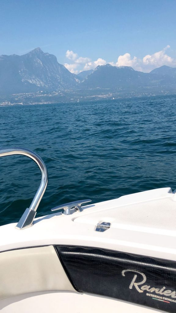 View of Lake Garda from our rental boat