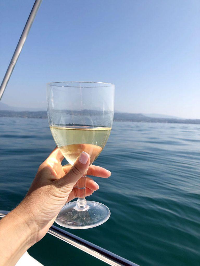 Wine on the boat on Lake Garda