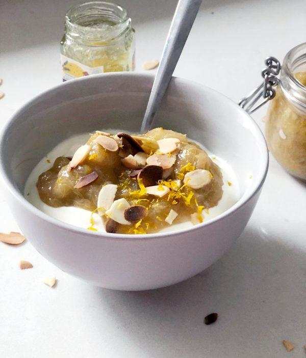 Rhubarb Orange compote on yoghurt with toasted almonds