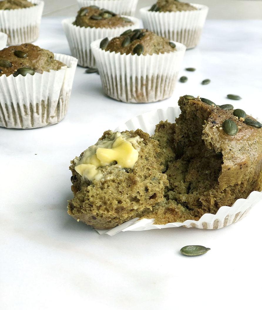 Savoury Pumpkin Seed Butter Muffins
