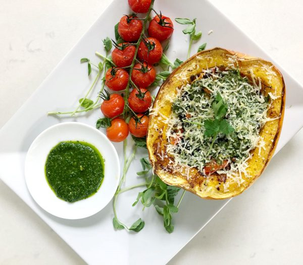 Roasted Spaghetti Squash with Gremolata by Emma Eats & Explores - Vegetarian, Glutenfree, Grainfree, Sugarfree, Paleo & Low Carb